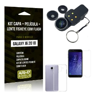 Kit Galaxy J6 (2018) Capa Silicone + Película de Vidro + Fisheye com Flash - Armyshield