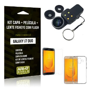 Kit Galaxy J7 Duo (2018) Capa Silicone + Película de Vidro + Fisheye com Flash - Armyshield