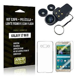 Kit Galaxy J7 Neo (2017) Capa Silicone + Película de Vidro + Fisheye com Flash - Armyshield