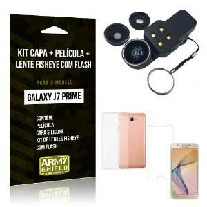 Kit Galaxy J7 Prime Capa Silicone + Película de Vidro + Fisheye com Flash - Armyshield