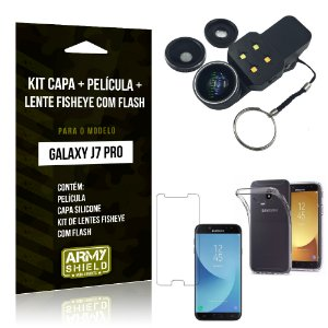 Kit Galaxy J7 Pro (2017) Capa Silicone + Película de Vidro + Fisheye com Flash - Armyshield