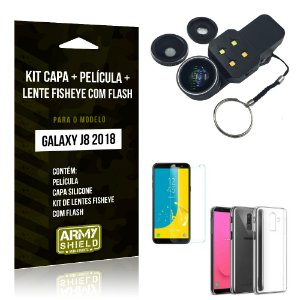 Kit Galaxy J8 (2018) Capa Silicone + Película de Vidro + Fisheye com Flash - Armyshield