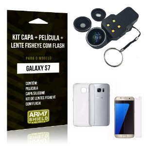 Kit Galaxy S7 Capa Silicone + Película de Vidro + Fisheye com Flash - Armyshield