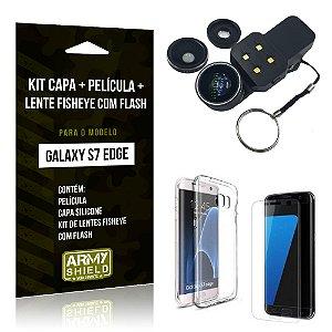Kit Galaxy S7 Edge Capa Silicone + Película de Vidro + Fisheye com Flash - Armyshield