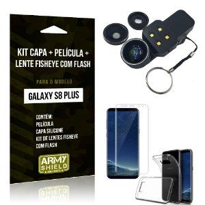 Kit Galaxy S8 Plus Capa Silicone + Película de Vidro + Fisheye com Flash - Armyshield