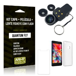 Kit Quantum Fly Capa Silicone + Película de Vidro + Fisheye com Flash - Armyshield