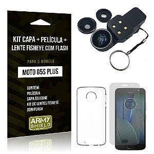 Kit Moto G5S Plus Capa Silicone + Película de Vidro + Fisheye com Flash - Armyshield