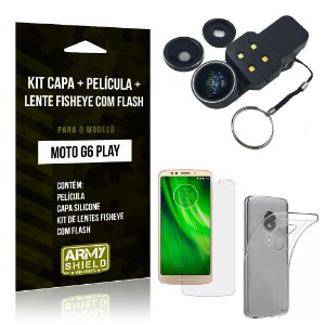Kit Moto G6 Play Capa Silicone + Película de Vidro + Fisheye com Flash - Armyshield