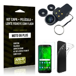 Kit Moto G6 Plus Capa Silicone + Película de Vidro + Fisheye com Flash - Armyshield