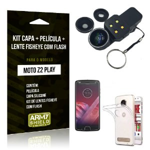 Kit Moto Z 2 Play Capa Silicone + Película de Vidro + Fisheye com Flash - Armyshield