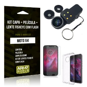 Kit Moto X4 Capa Silicone + Película de Vidro + Fisheye com Flash - Armyshield
