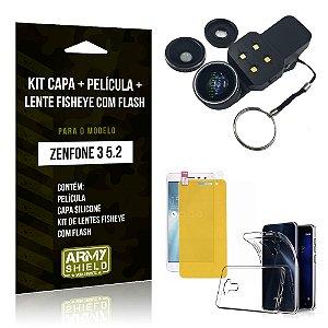 Kit Zenfone 3 - 5.2' ZE520KL Capa Silicone + Película Gel + Fisheye com Flash - Armyshield