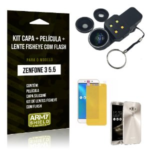 Kit Zenfone 3 - 5.5' ZE552KL Capa Silicone + Película Gel + Fisheye com Flash - Armyshield