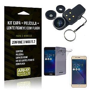 Kit Zenfone 3 Max - 5.2' ZC520TL Capa Silicone + Película Gel + Fisheye com Flash - Armyshield
