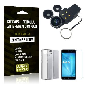 Kit Zenfone 3 Zoom - ZE553KL Capa Silicone + Película Gel + Fisheye com Flash - Armyshield