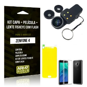 Kit Zenfone 4 - 5.5' ZE554KL Capa Silicone + Película Gel + Fisheye com Flash - Armyshield