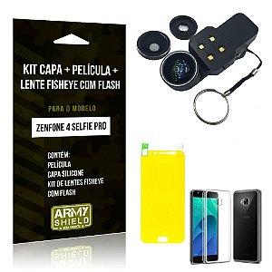 Kit Zenfone 4 Selfie Pro 5.2' ZD552KL Capa Silicone + Película Gel + Fisheye com Flash - Armyshield