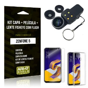 Kit Zenfone 5 ZE620KL Capa Silicone + Película Gel + Fisheye com Flash - Armyshield