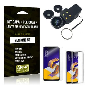 Kit Zenfone 5Z ZS620KL Capa Silicone + Película Gel + Fisheye com Flash - Armyshield