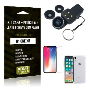 Kit iPhone XR Capa Silicone + Película de Vidro + Fisheye com Flash - Armyshield