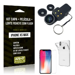 Kit iPhone XS Max Capa Silicone + Película de Vidro + Fisheye com Flash - Armyshield