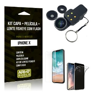 Kit iPhone X Capa Silicone + Película de Vidro + Fisheye com Flash - Armyshield