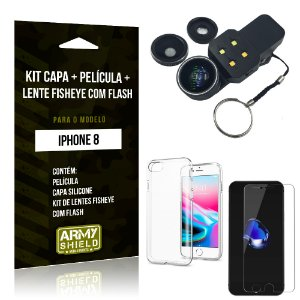 Kit iPhone 8 Capa Silicone + Película de Vidro + Fisheye com Flash - Armyshield