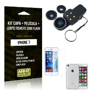 Kit iPhone 7 Capa Silicone + Película de Vidro + Fisheye com Flash - Armyshield