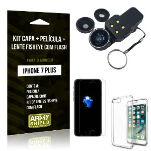 Kit iPhone 7 Plus Capa Silicone + Película de Vidro + Fisheye com Flash - Armyshield