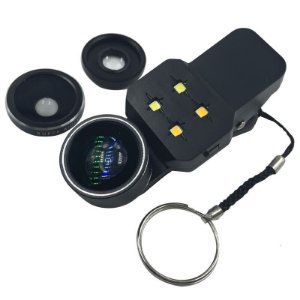 Kit de Lentes Fisheye com Flash 4 em 1