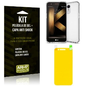 Kit LG K10 Novo Capa Anti Shock + Película de Gel - Armyshield