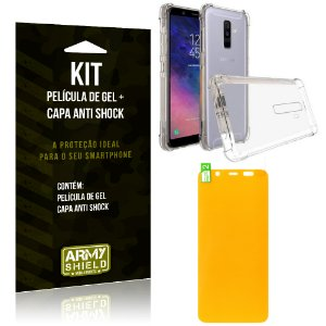 Kit Galaxy A6 Plus Capa Anti Shock + Película de Gel - Armyshield