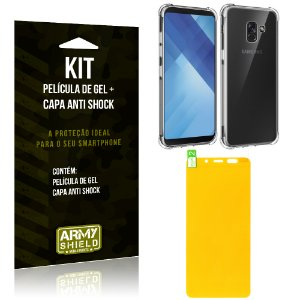 Kit Galaxy A8 Plus Capa Anti Shock + Película de Gel - Armyshield