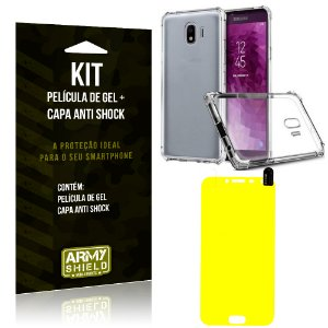 Kit Galaxy J4 (2018) Capa Anti Shock + Película de Gel - Armyshield