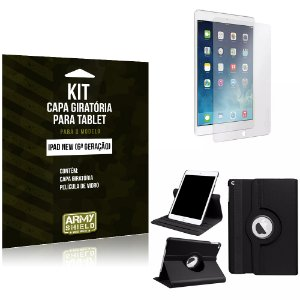 Kit Apple iPad New 6 Geração Capa Giratória + Película de Vidro - Armyshield