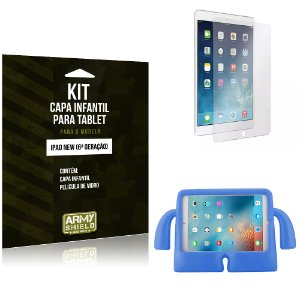 Kit Apple iPad New 6 Geração Capa Infantil Azul + Película de Vidro - Armyshield