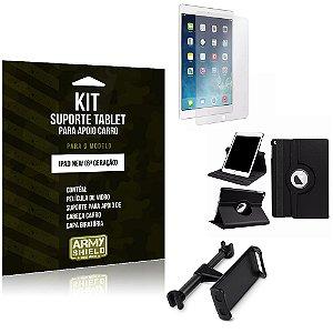Kit Apple iPad New 6 Geração Suporte Encosto Carro + Capa Giratória + Película de Vidro - Armyshield
