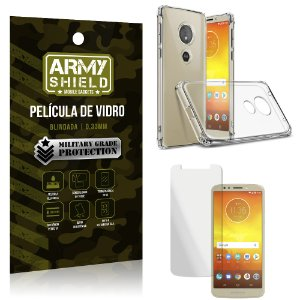 Kit Capa Anti Shock + Película Vidro Moto E5 Play - Armyshield