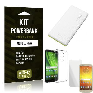 Kit Powerbank Moto E5 Play Powerbank + Película + Capa - Armyshield