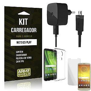 Kit Carregador Moto E5 Play Carregador + Película + Capa - Armyshield