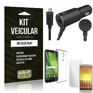 Kit Carregador Veicular Moto E5 Play Carregador + Película + Capa - Armyshield