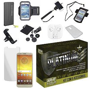Kit Platinum Moto E5 Play com 9 Acessórios - Armyshield