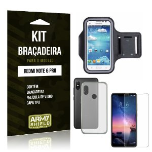 Kit Braçadeira Xiaomi Redmi Note 6 Pro Braçadeira + Película + Capa - Armyshield