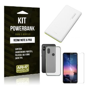 Kit Powerbank Xiaomi Redmi Note 6 Pro Powerbank + Película + Capa - Armyshield