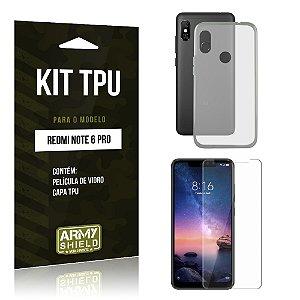 Kit Capa Silicone Xiaomi Redmi Note 6 Pro Película + Capa - Armyshield