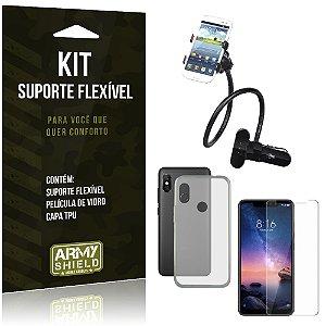 Kit Suporte Flexível Xiaomi Redmi Note 6 Pro Suporte + Película + Capa - Armyshield