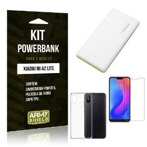 Kit Powerbank Xiaomi Mi A2 Lite (Redmi 6 Pro) Powerbank + Película + Capa - Armyshield