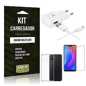 Kit Carregador Xiaomi Mi A2 Lite (Redmi 6 Pro) Carregador + Película + Capa - Armyshield