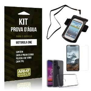 Kit Capa à Prova D'água Motorola One Prova Dágua + Película + Capa - Armyshield
