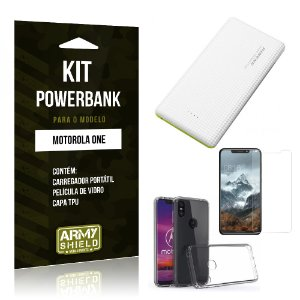 Kit Powerbank Tipo C Motorola One Powerbank + Película + Capa - Armyshield